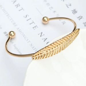 Boho Gold Feather/Leaf Open Cuff Bangle Bracelet